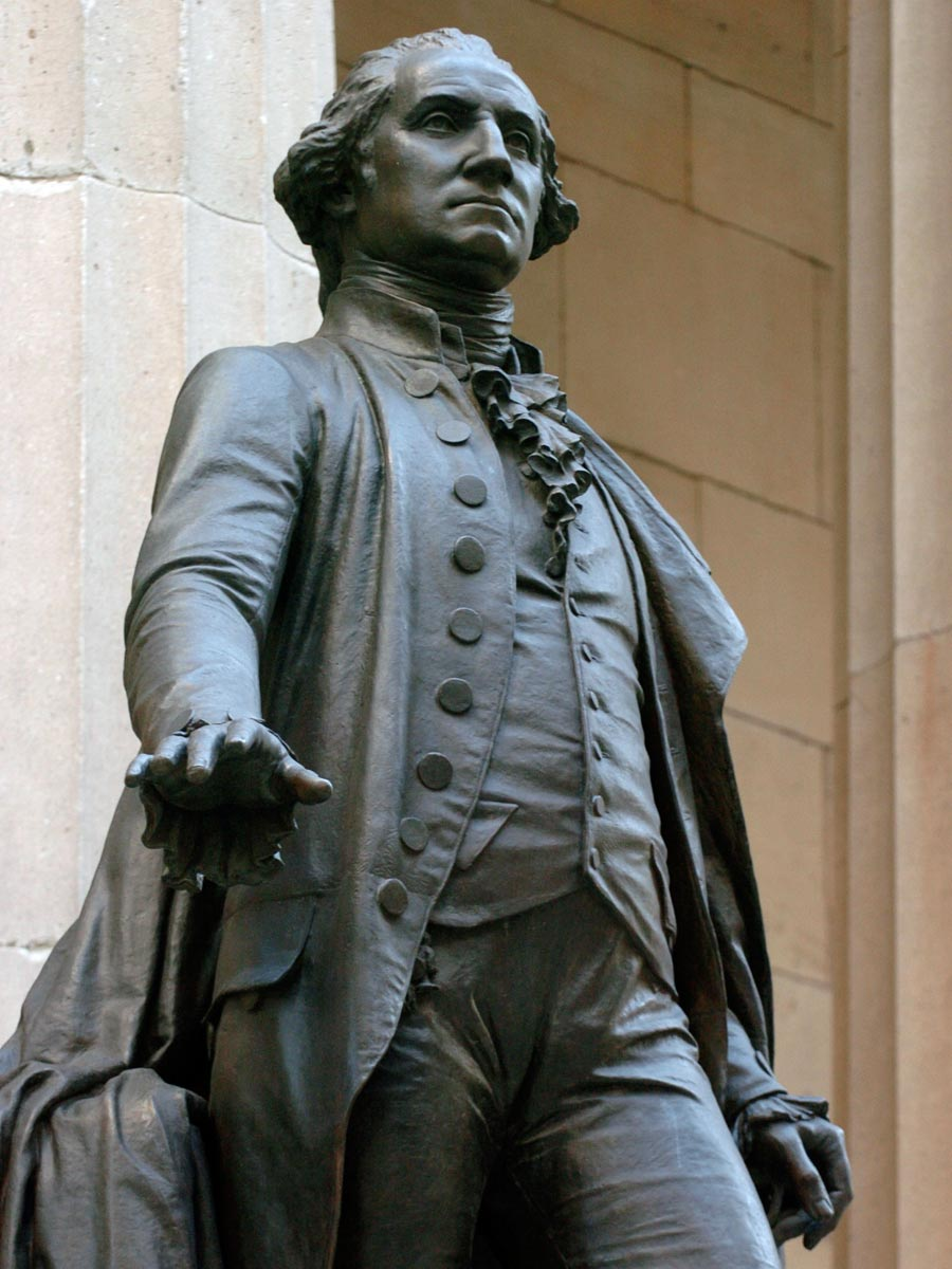 Closeup of the George Washington Statue at Federal Hall