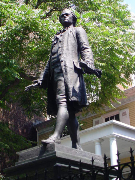 Statue of Hamilton outside the Grange