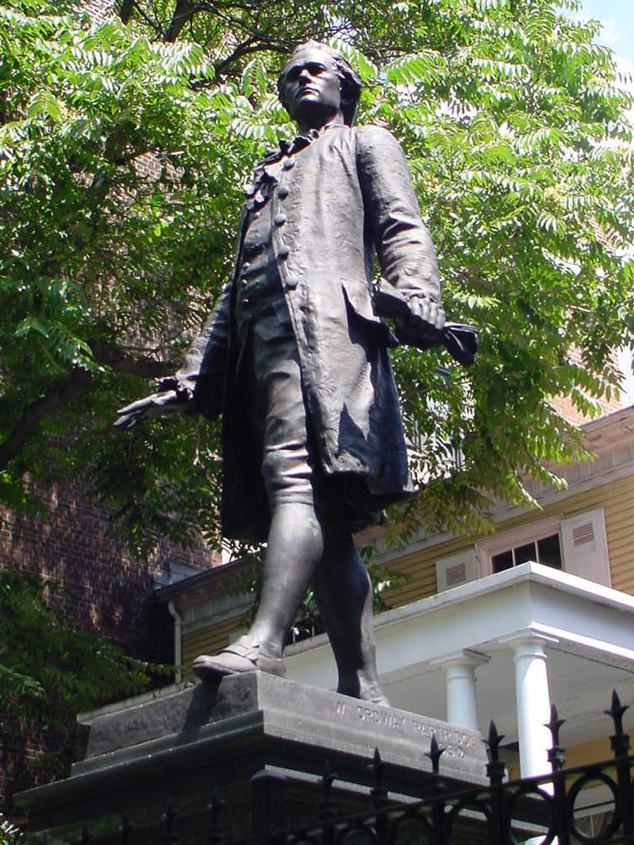 Hamilton statue outside the Grange