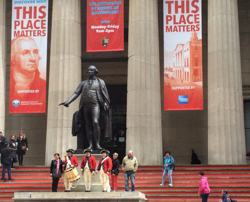 View of Federal Hall's steps with Civil War reenactors