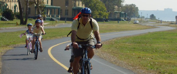Family biking on Sandy Hook multi-use pathway