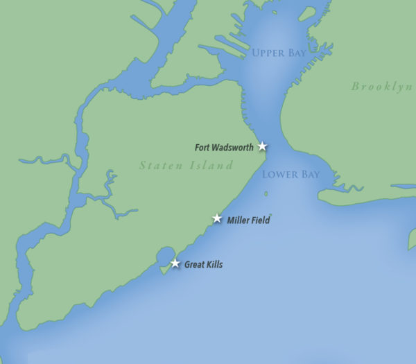 Map of Staten Island showing location of National Parks of New York Harbor